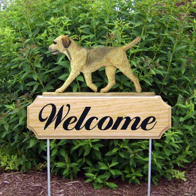 Border Terrier Outdoor Welcome Garden Sign Tan/Wheaten in Color