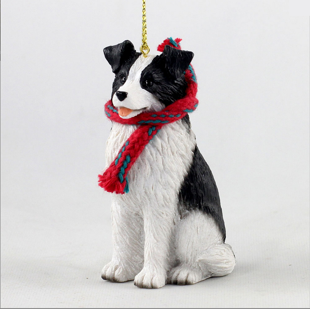 Christmas Tree Decorations For Dogs : Border collie dog christmas ornament scarf figurine