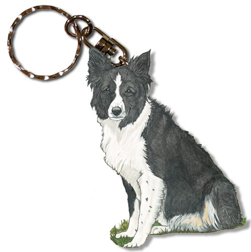 Border Collie Wooden Dog Breed Keychain Key Ring