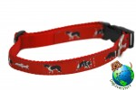 "Border Collie Dog Breed Adjustable Nylon Collar Medium 11-19"" Red"