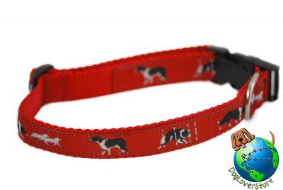 Border Collie Dog Breed Adjustable Nylon Collar Medium 11-19″ Red 1