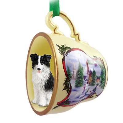 Border Collie Dog Christmas Holiday Teacup Ornament Figurine 1