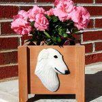 Borzoi Planter Flower Pot White 1