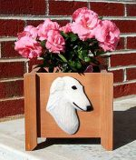 Borzoi Planter Flower Pot White