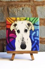 Borzoi Colorful Portrait Original Artwork on Ceramic Tile 4x4 Inches