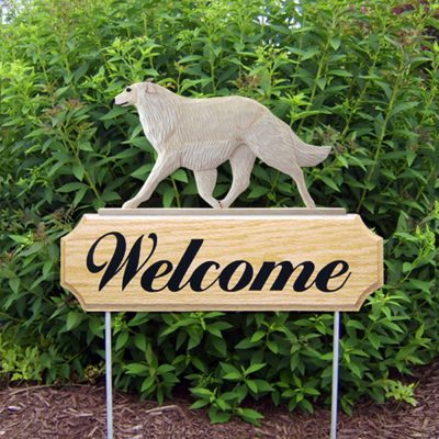 Borzoi Outdoor Welcome Yard Sign Cream in Color
