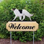 Borzoi Outdoor Welcome Garden Sign Tri Color - White - Black - Brown in Color