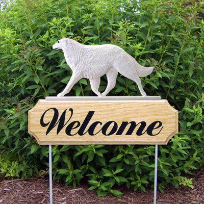 Borzoi Outdoor Welcome Garden Sign White in Color