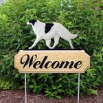 Borzoi Outdoor Welcome Garden Sign White and Black in Color