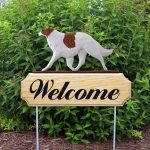 Borzoi Outdoor Welcome Garden Sign White & Brown/Red in Color
