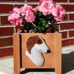 Borzoi Planter Flower Pot Red 1