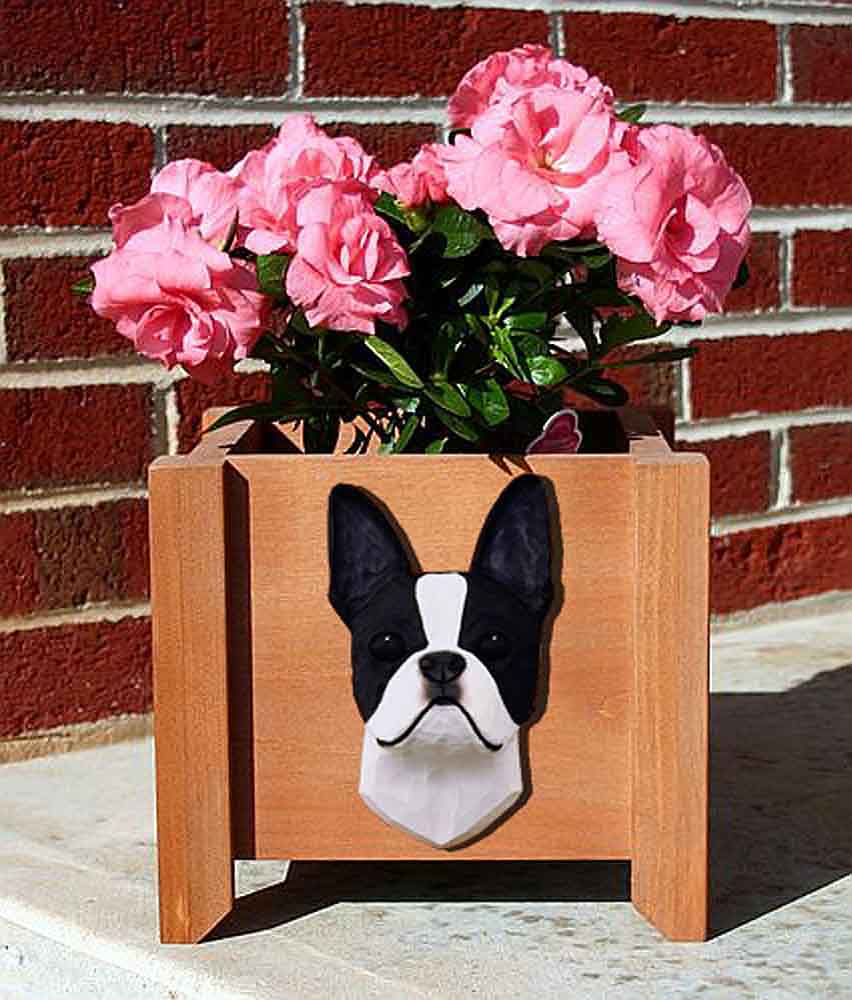 Boston Terrier Planter Flower Pot Black