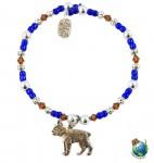 Boston Terrier Beaded Charm Bracelet Silver Handmade