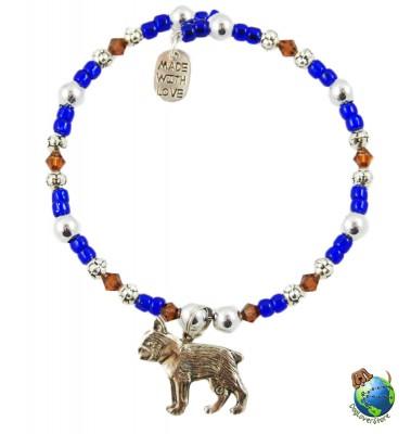 Boston Terrier Beaded Charm Bracelet Silver Handmade 1