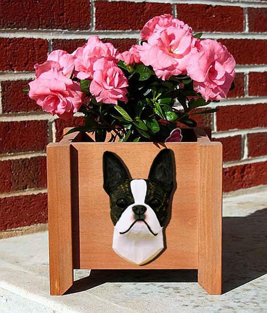 Boston Terrier Planter Flower Pot Brindle