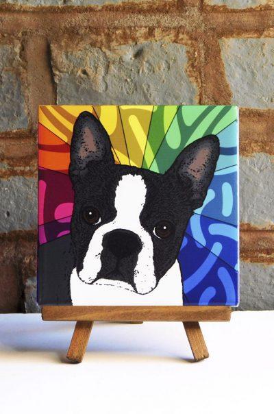 Boston Terrier Colorful Portrait Original Artwork on Ceramic Tile 4x4 Inches