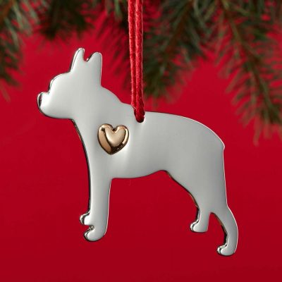 Boston Terrier Holiday Ornament & Collar Charm Set 2