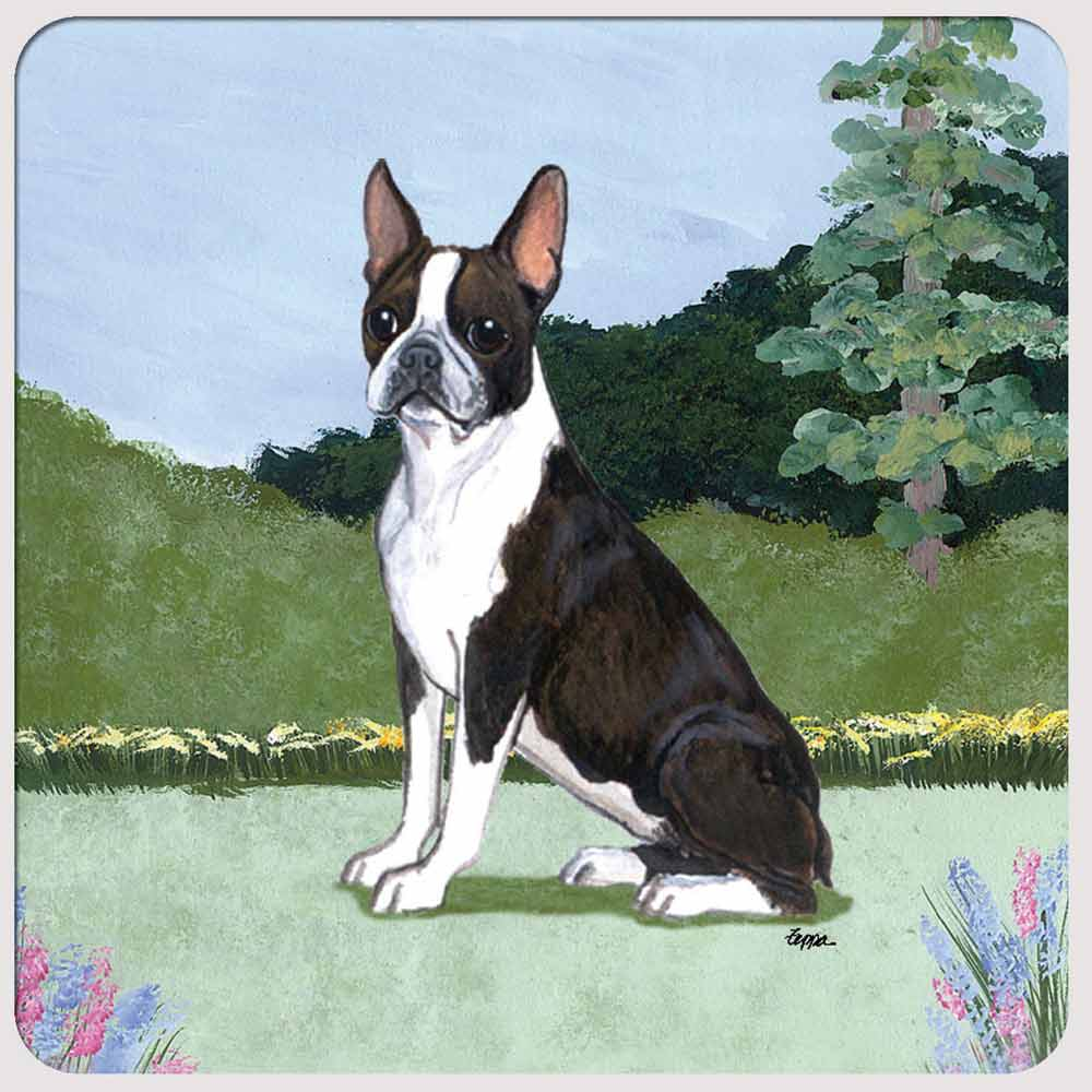 Boston Terrier Yard Scene Coasters Set of 4