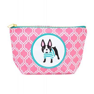 Boston Terrier Zippered Makeup Travel Bag