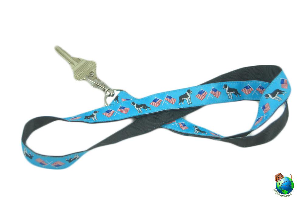Boston Terrier Lanyard Key Holder Badge Holder