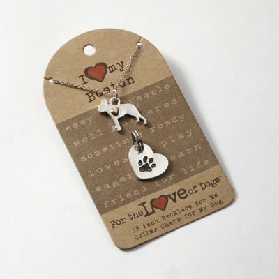 Boston Terrier Necklace & Collar Charm Set 16 Inches