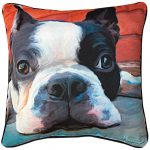 Boston Terrier Artistic Throw Pillow 18X18″ 1