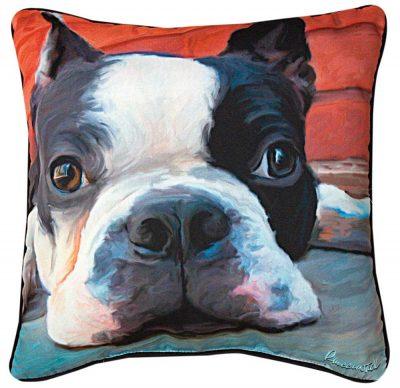 """Boston Terrier Artistic Throw Pillow 18X18"""""""