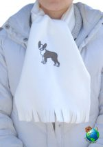 Boston Terrier Scarf Cream Fleece