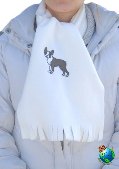 Boston Terrier Scarf Cream Fleece 1