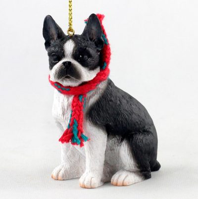 boston terrier scarf christmas ornament