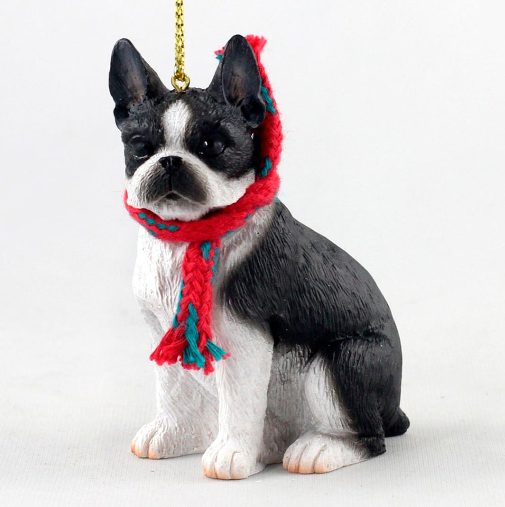 Boston Christmas Tree Delivery: Boston Terrier Christmas Ornament Scarf Figurine