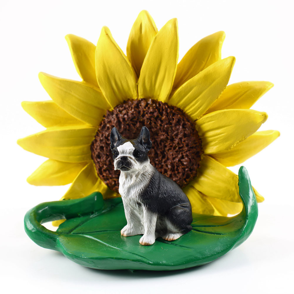 Boston Terrier Figurine Sitting on a Green Leaf in Front of a Yellow Sunflower