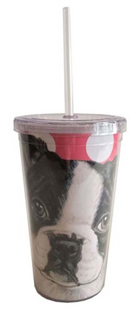 Boston Terrier Tumbler With Straw
