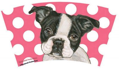 Boston Terrier Tumbler With Straw Design