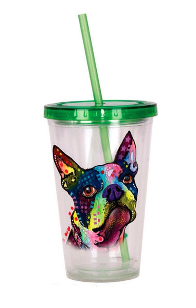 Boston Terrier Tumbler - Double Walled Acrylic 16 Ounces