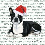 Boston Terrier Dog Coasters Christmas Themed