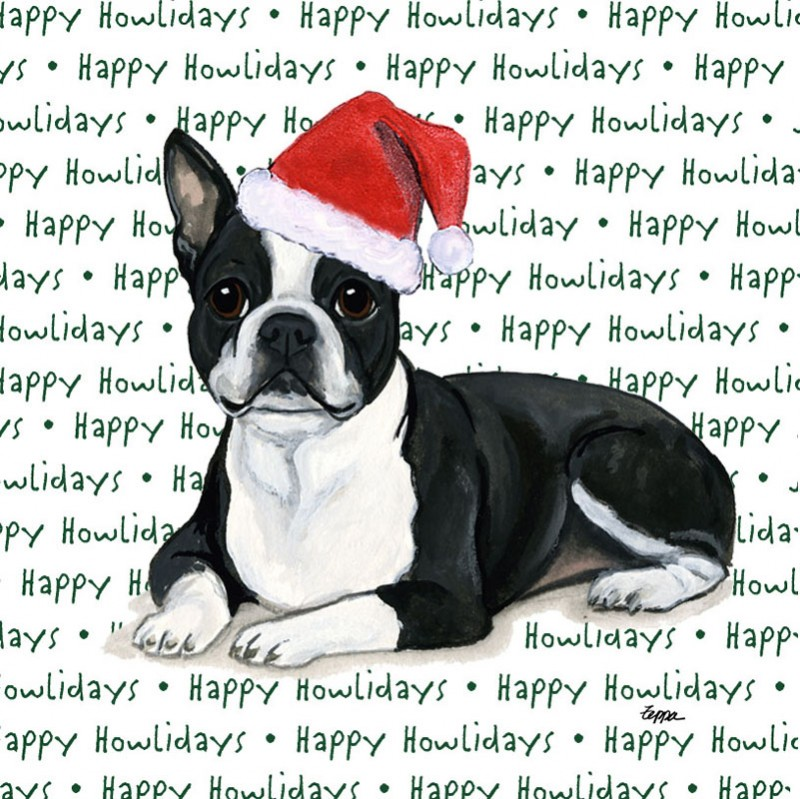 boston terrier coasters christmas themed