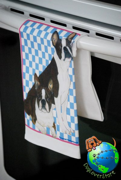 Boston Terrier Kitchen Hand Towel 1