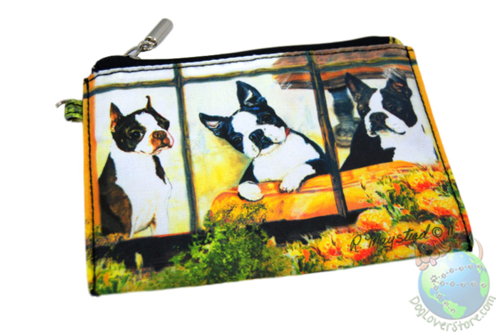 3 Boston Terriers Sitting on Couch in Window Design on Zippered Pouch Wallet