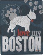 Boston Terrier Polyester Dog Blanket Throw