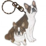 Boston Terrier Wooden Dog Breed Keychain Key Ring