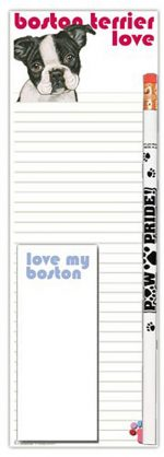 Boston Terrier Dog Notepads To Do List Pad Pencil Gift Set