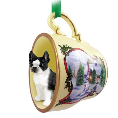 Boston Terrier Dog Christmas Holiday Teacup Ornament Figurine 1