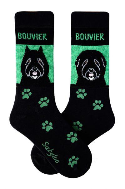 Bouvier Socks on Green Background