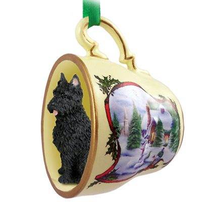 Bouvier Dog Christmas Holiday Teacup Ornament Figurine Cropped