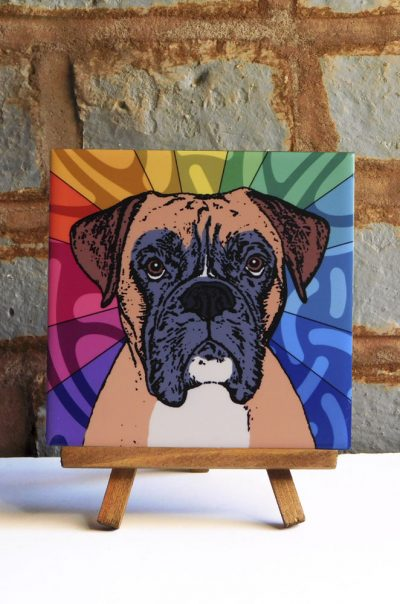 Boxer Uncropped Ears Colorful Portrait Original Artwork on Ceramic Tile 4x4 Inches