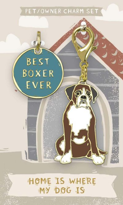 Boxer Collar Charm and Keychain Set