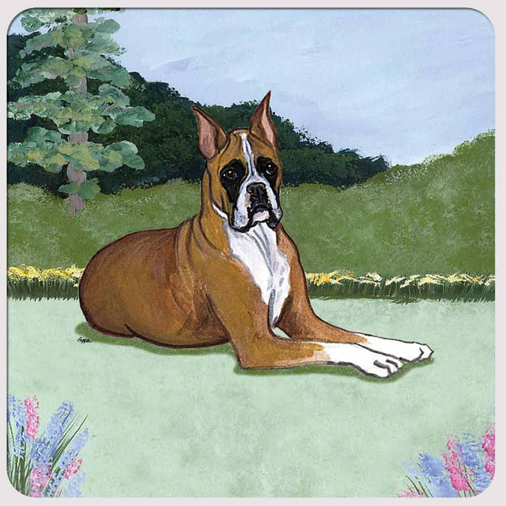 Boxer Yard Scene Coasters Set of 4
