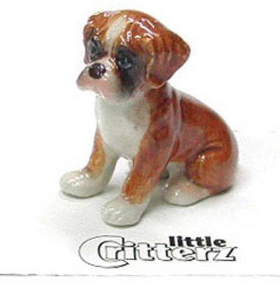 Boxer Hand Painted Porcelain Miniature Figurine Puppy