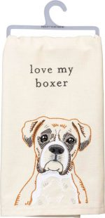 Boxer Kitchen Dish Towel By Kathy Uncropped Ears
